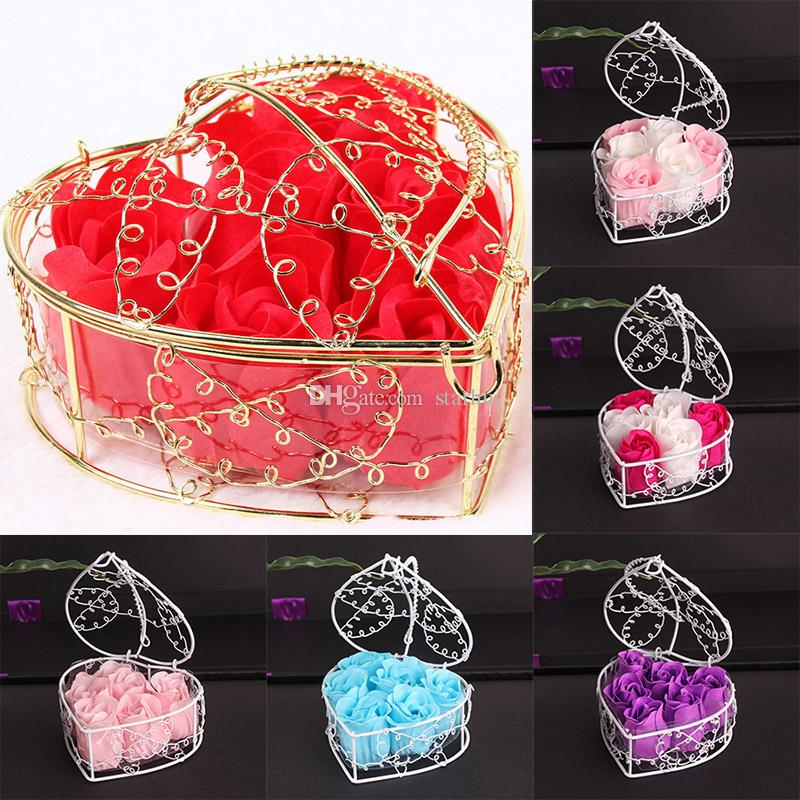 6Pcs Box Handmade Scented Rose Soap Flower Romantic Bath Body Soap Rose with Gilded Basket For Valentine Wedding Gift WX9-1221
