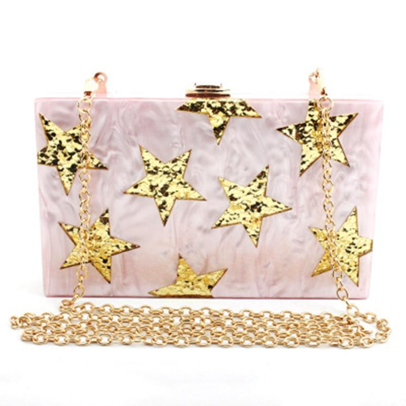 Nova moda de um ombro estrela de cinco pontas saco da noite lantejoulas diagonal estrela de cinco pontas jantar saco de acrílico de embreagem das mulheres