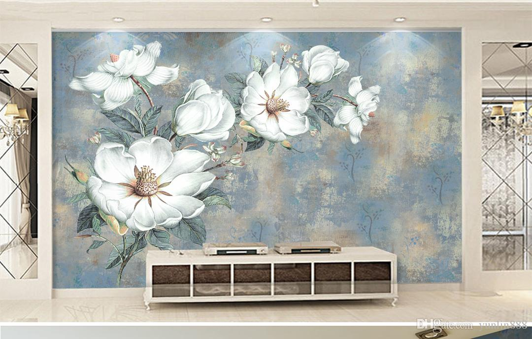 Wallpaper 3D Flock Of White Butterflies Blue Dreamy Flowers Living Room Bedroom Background Wall Decoration Mural Wallpaper