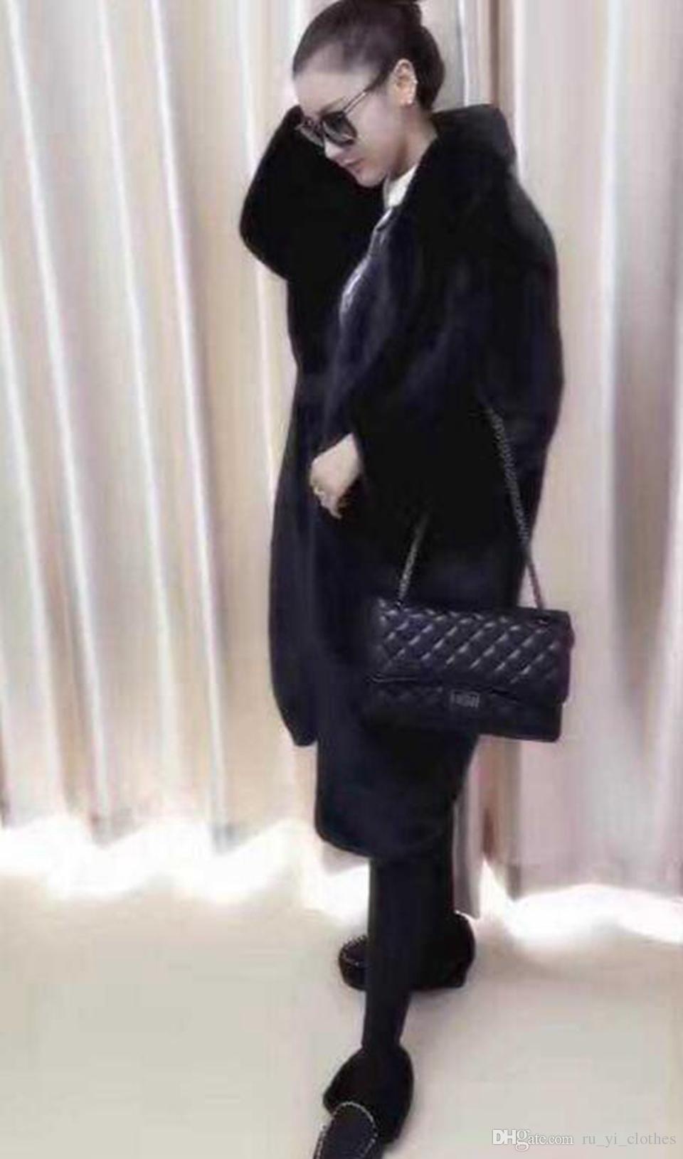Invierno de las mujeres de Europa y de negocios de Corea del Inglés nueva tendencia del estilo de personalidad Boutique abrigo largo de piel de moda estadounidense / XS-3XL