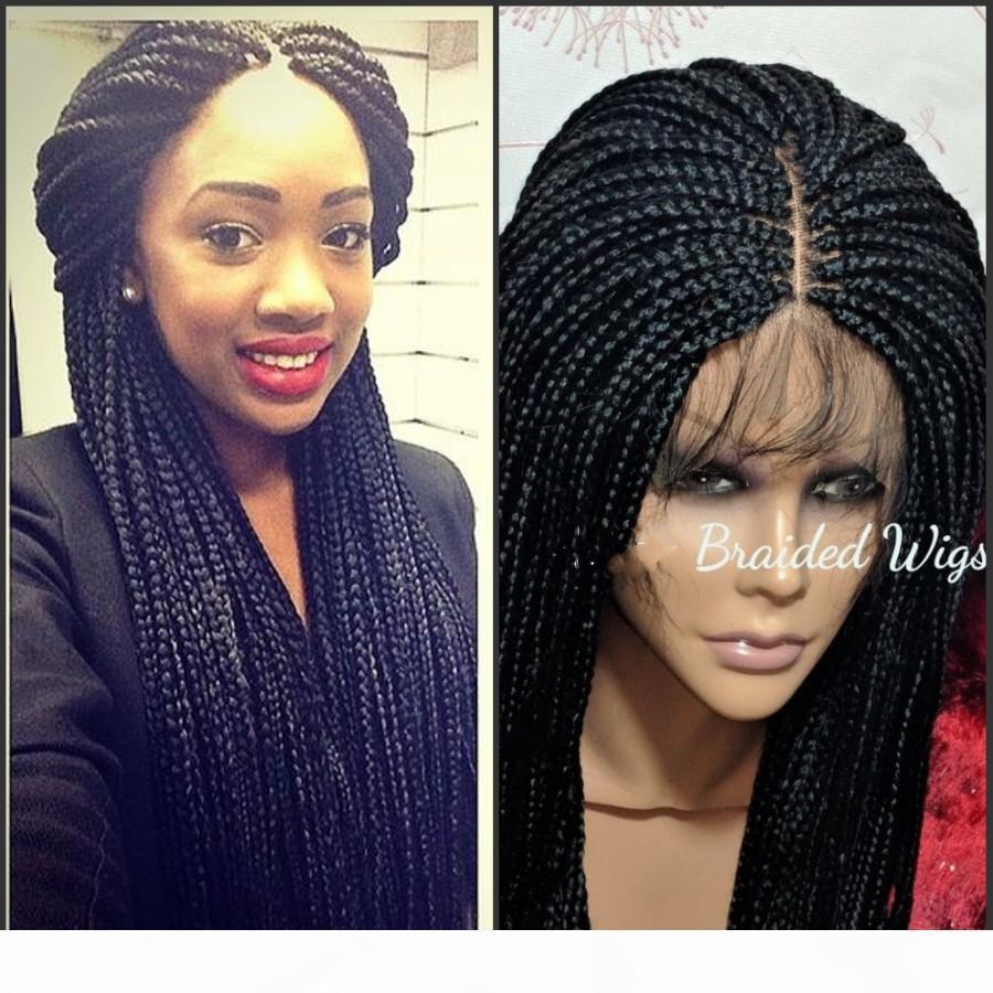 9A alta qualidade rendas frontal tranças peruca com o cabelo do bebê completa sintética coleção à mão longa trançada peruca para as mulheres negras