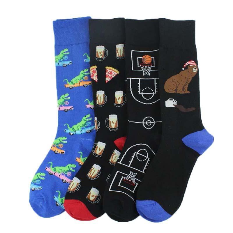 Dibujos animados divertidos calcetines PEONFLY 1 par peinados de algodón de los hombres de dinosaurio oso coloridas Happy Socks Harajuku cerveza Casual Calcetines Hombre