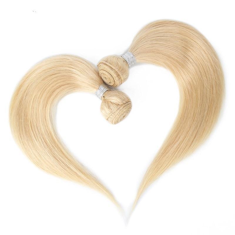2020 New Year # 613 Bleiche blonde Farbe Glattes Haar einschlag Rohboden brasilianische Menschenhaar-Verlängerung 12-26 Zoll Haar-Webart 300gr Bundles