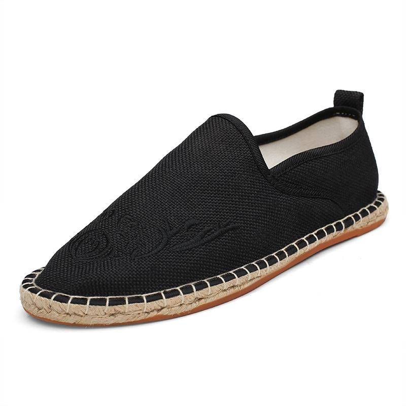 Men's Breathable Linen Shoe Hot Sale Embroidery Handmade Straw Shoes Casual Espadrilles Flat Shoe for Male Ethnic Style