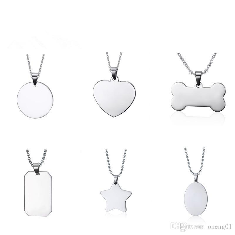 Fashion stainless steel necklace for women and men creative bone star heart shaped blank dog tag pendant necklace