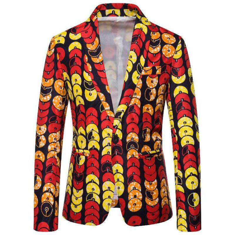Autumn Mens Slim Fit Floral Blazer Jacket Casual Blazers for Men
