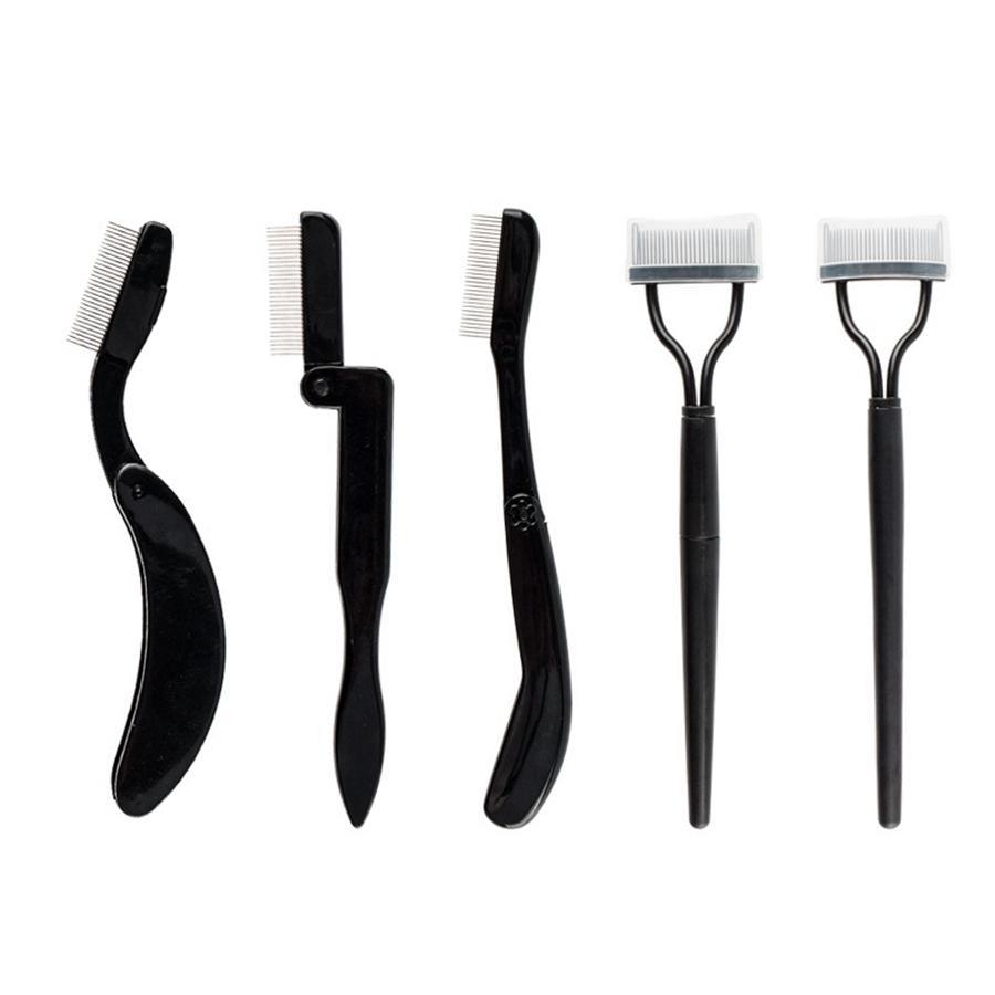 Ferramentas de aço Agulha dobrável inoxidável sobrancelha pente cílios Curvando Plastic Handle sobrancelha Comb Professional Cosmetic Tools RRA2152