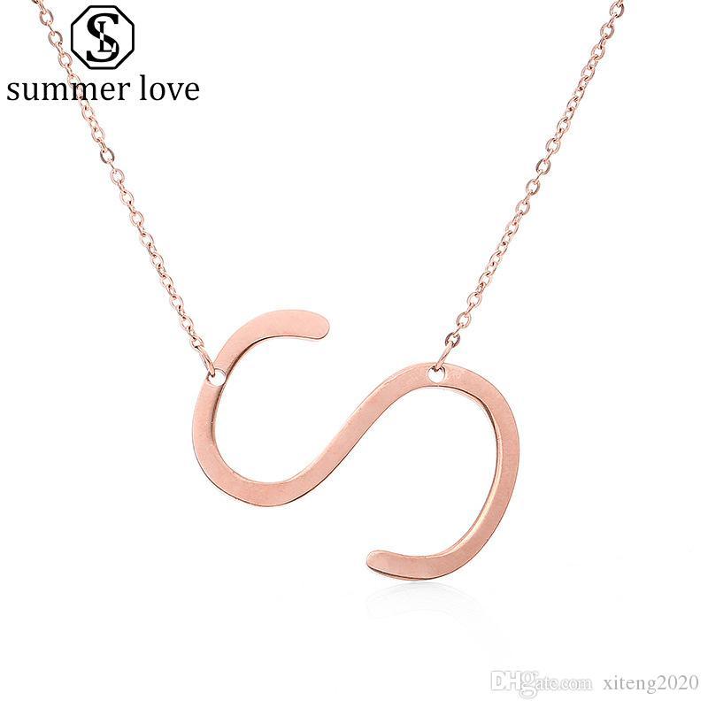 Роуз Позолоченные из нержавеющей стали ожерелье A-Z Английский алфавит Начальный капитал Письмо кулон ожерелье ювелирных изделий способа для женщин Подарок-Z