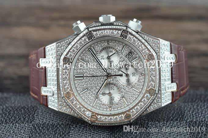Men's Sport Shipping Quartz chronograph movement Full Silver Diamond Dial brown leather Bracelet VK Quartz Workin Watches