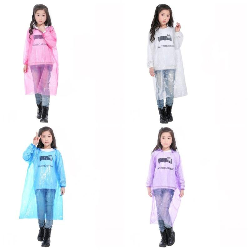 One Time Emergency Rainwear Stretch Wrists Clear Disposable Hooded Poncho Raincoat Children Traveling Must Rain Wear Wholesale 1 8qh2 E19