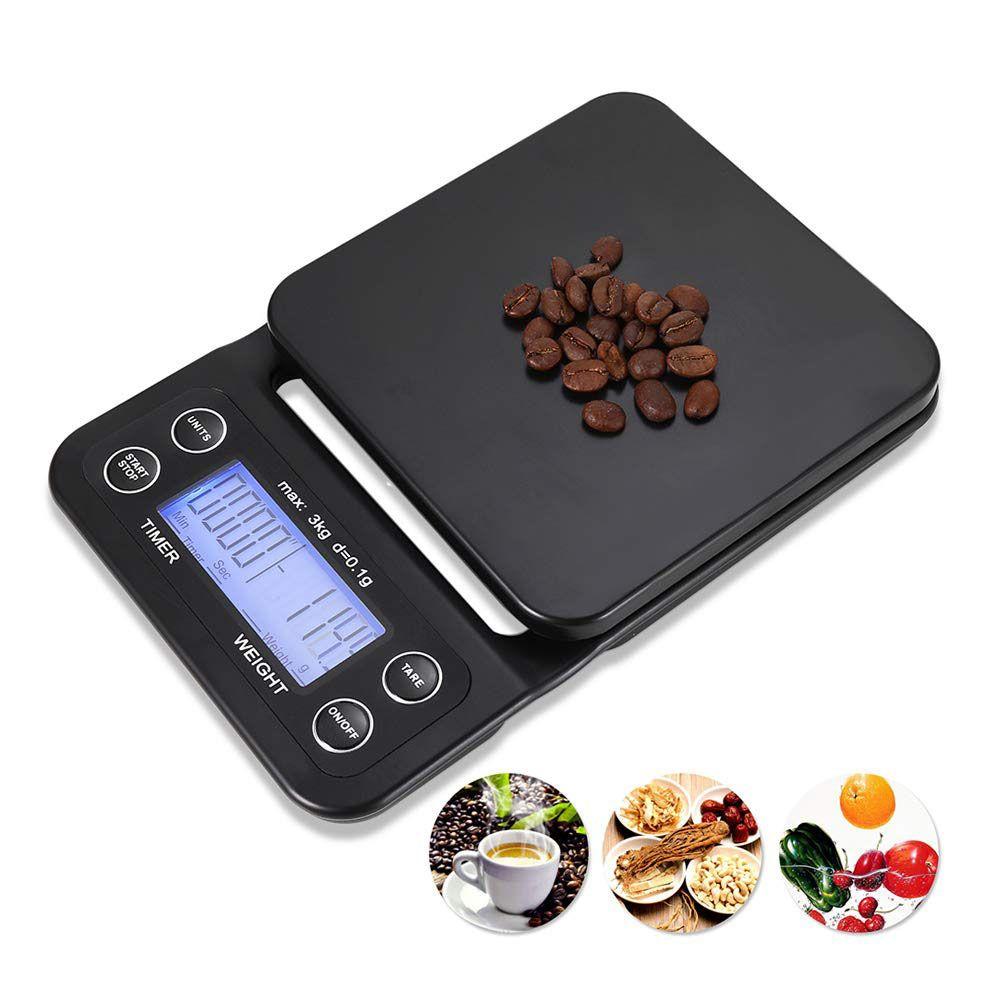 Портативные электронные весы с таймером 3 кг / 0,1 г ЖК-цифровой кухонные кофейные весы инструмент для взвешивания Новый дизайн высокой точности
