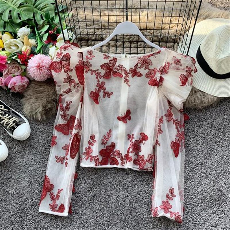 Мода ретро трехмерная бабочка вышивка женщины топы блузка мода женщины рубашки сетка O-образным вырезом с длинным рукавом рубашки