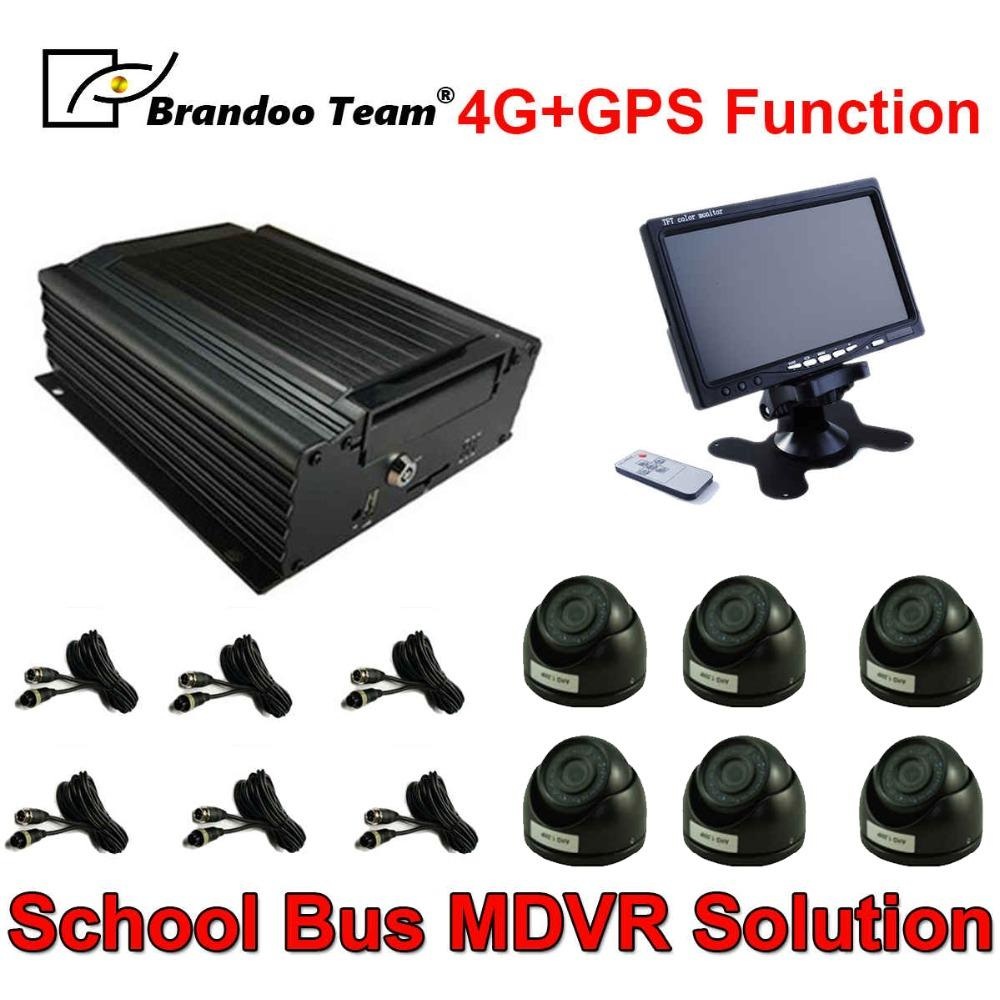 4G or GPS Bus CCTV Security System 6pcs Car Camera Mobile DVR Kit MDVR Kit IR Night Vision Dome Car Camera