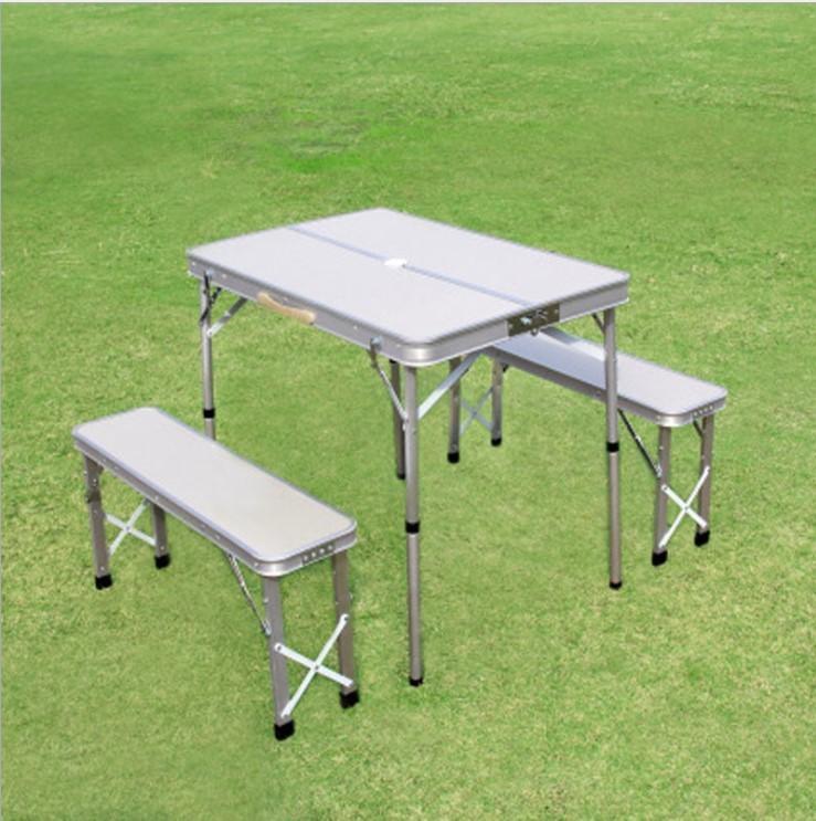 Mesa plegable 3pcs escritorio del ordenador portátil Cama ligero de aleación de aluminio de picnic camping barbacoa a prueba de lluvia jardín Conjuntos Ultra luz en color de picnic