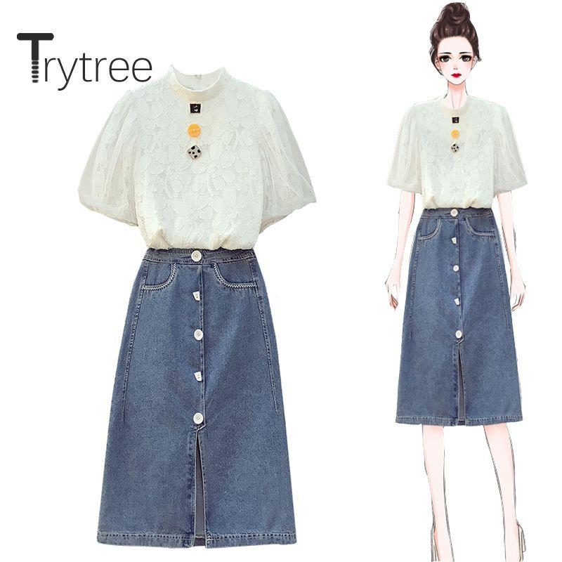 Trytree 2020 Sommer-Frauen-Zweiteiler beiläufige Stehkragen Spitze-weiße Tops + Cowboy Rock Knopf Split Saum Mode 2-teiliges Set