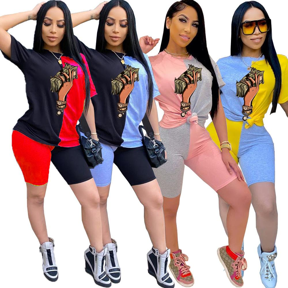 Designer Women Clothes Tracksuits two piece crop tops and shorts 2 piece Outfits Women Clothing Sets Hand Dollar Print Short Sleeve Homewear