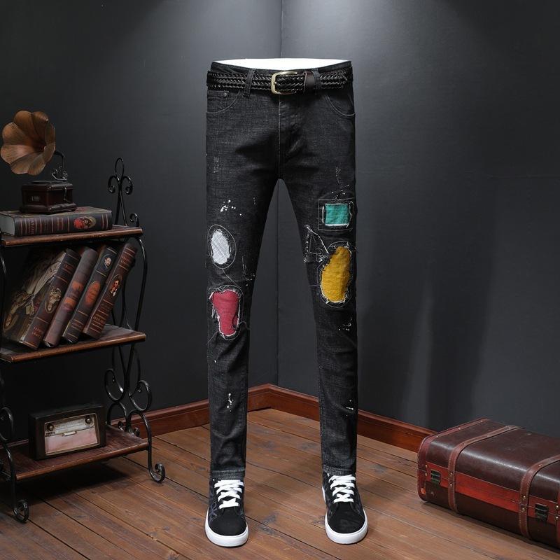 Мужская одежда Xia Личность Штукатурка патч Молодежь Стиральная ковбой Брюки