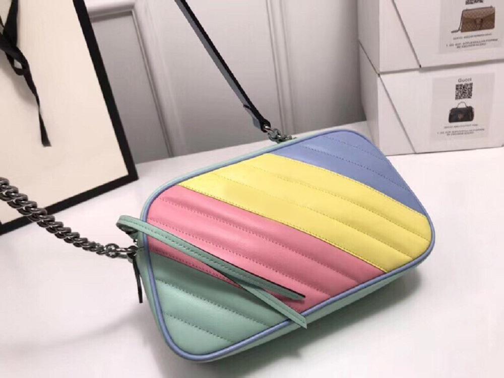 con la scatola ed il sacchetto di polvere del corpo Marmont arcobaleno Designer Shoulder Bag Qualità Croce borsa frizione di giorno pacchetto quotidiano messaggero sera borse borsa