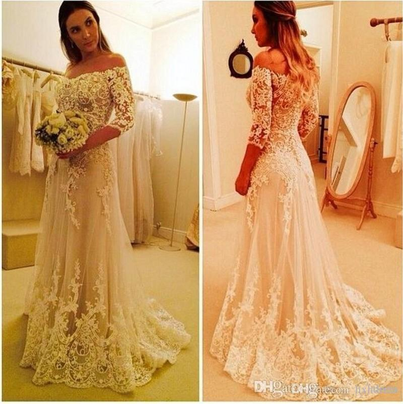 Gorgeous Off Shoulder 3/4 Long Sleeves 2020 New Lace A Line Wedding Dresses Plus Size Custom Made Appliques Princess Bridal Gowns 444