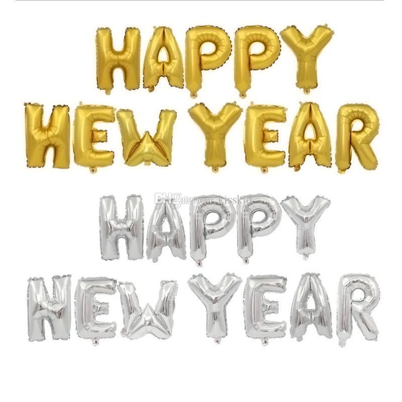 Decorazione 16inch HAPPY NEW YEAR pellicola di alluminio di palloncini festa di Capodanno Colori Balloon Oro Argento 12pcs / set Trasporto libero all'ingrosso
