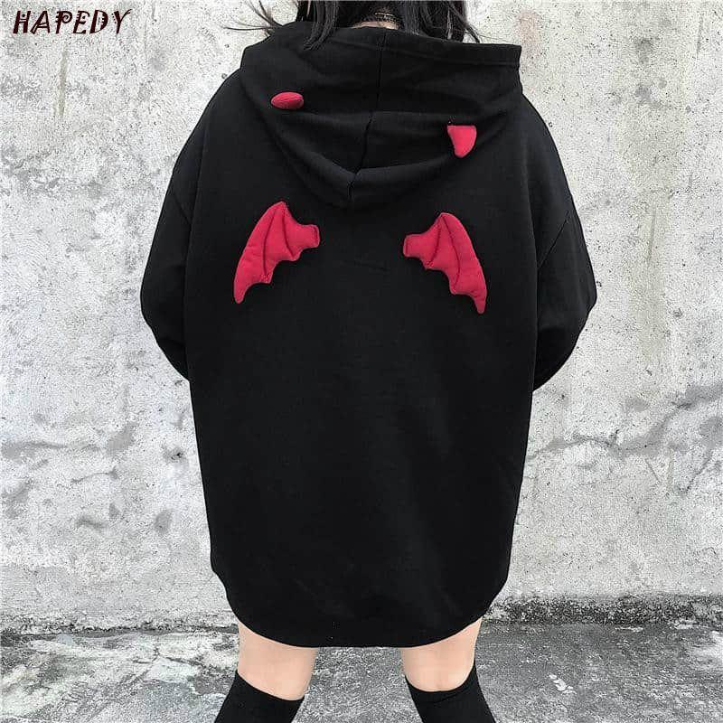 Frühling und Herbst Frauen Sweatshirts High Street Harajuku Nette Hoodies Punk Gothic Devil Horn Chic Hoodie Lockere Sweat