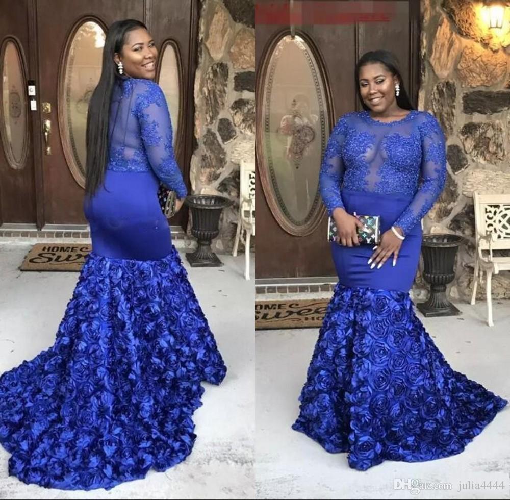 2019 Sheer Mangas Compridas Lace Apliques Azul Royal Plus Size Prom Vestidos Sereia Vestido de Baile Longo Rosa Trem Africano Desgaste Da Noite Fino