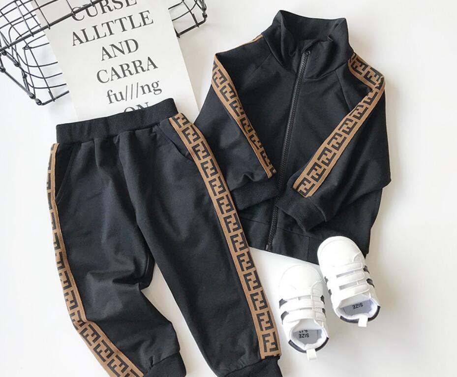 fatos de treino bebê crianças desenhador roupas fatos de desporto Retail 2020 nova carta meninos meninas de futebol baseball treino 2pcs set (jaqueta + calça)