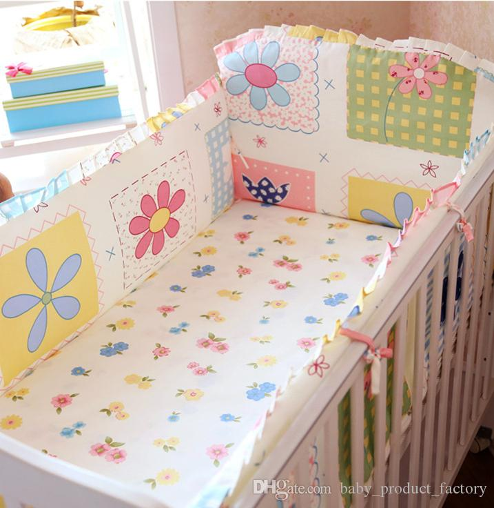 Promotion! 6PCS baby crib bedding crib bumper 100% cotton cot bedding set baby cot set (bumpers+sheet+pillow cover)