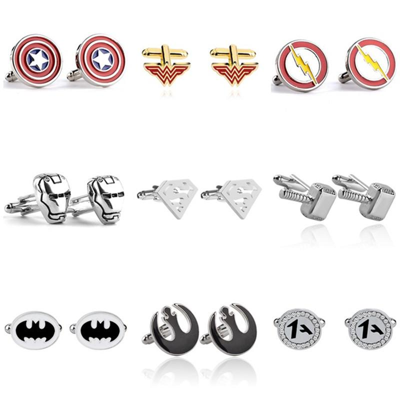 2020 Newly 73 Styles Batman Cufflinks Moive Jewelry Men Shirts Iron Man Groot Infinity Gauntlet Cuff Links Fashion Accessories For Gift