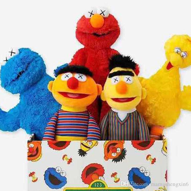 Nuevos regalos de la Calle Sésamo KAWS 5 Modelos del monstruo de Elmo Big Bird felpa Juguetes rellenos de niños de las muñecas de los niños