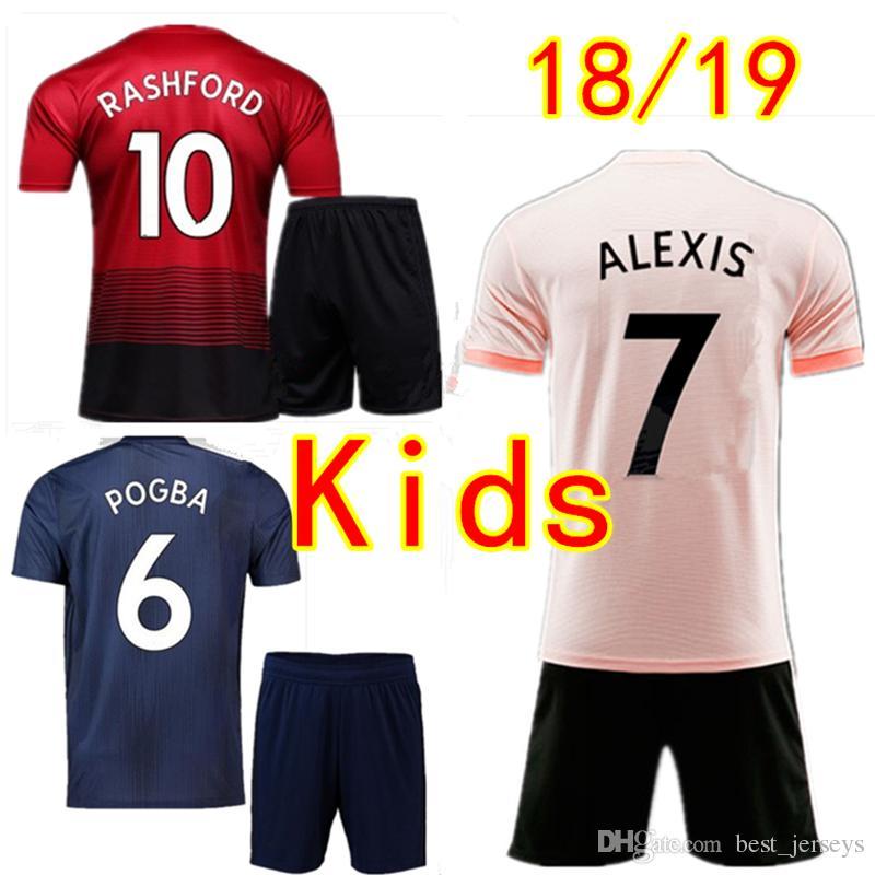 uniforme de fútbol Manchester niños Lukaku Pogba Niños Niñas Establece fútbol 18 19 ALEXIS MARTIAL Rashford MATA LINGARD Unidas jerseys del fútbol Kits