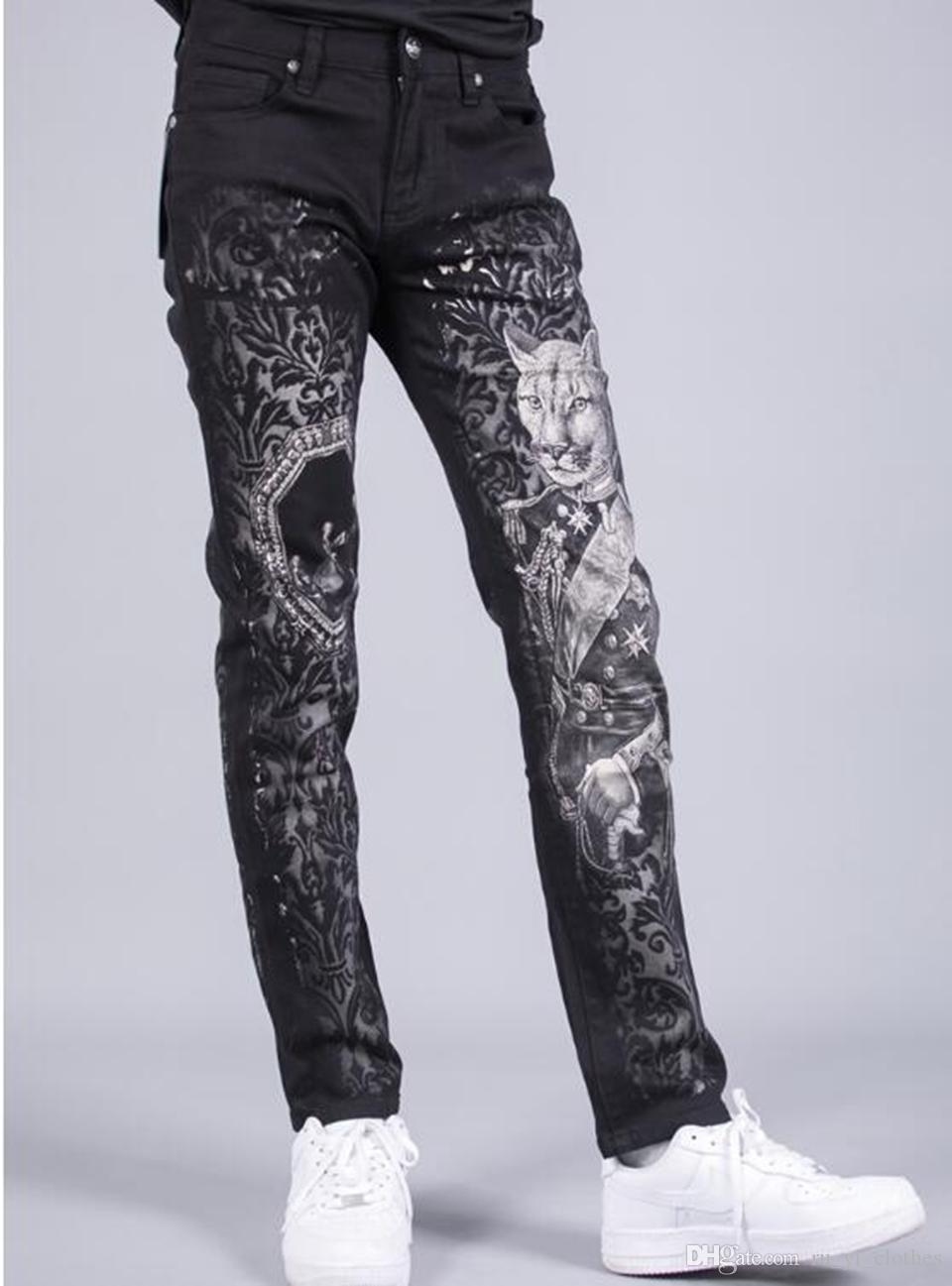 Men's Europe the United States South Korea version of the new fashion trend slimming personality autumn printing small leg trousers / 28-36