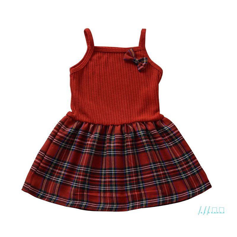 Vêtements pour bébé Robes d'été sans manches filles Jumpsuits bretelles Bow Patchwork couleur unie Plaid enfants Enfants Jupes CZ423