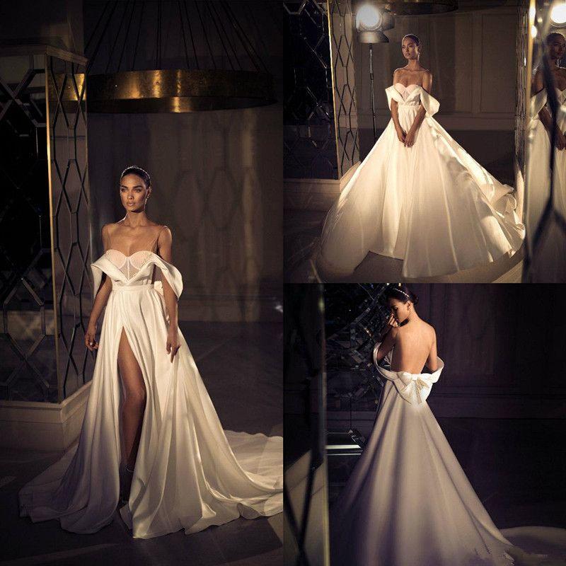 Elihav Sasson Страна Свадебные платья Линия V Neck с плеча Side Split Vestidos De Novia атласная развертки Поезд Свадебные платья 4313