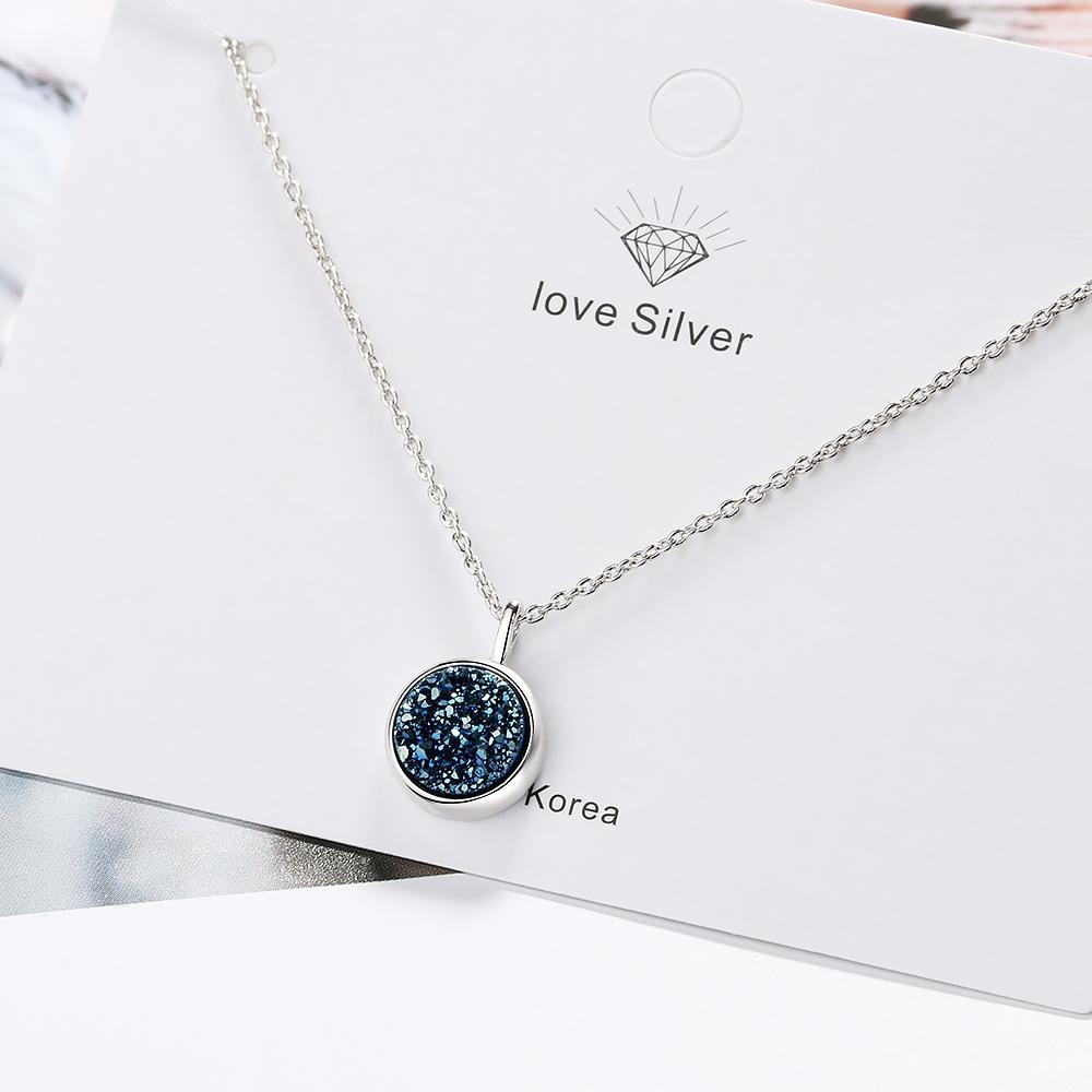 925 Silver Charm Druzy Collana di cristallo blu Frammento Kyanite Pendant per regali di compleanno S-N373
