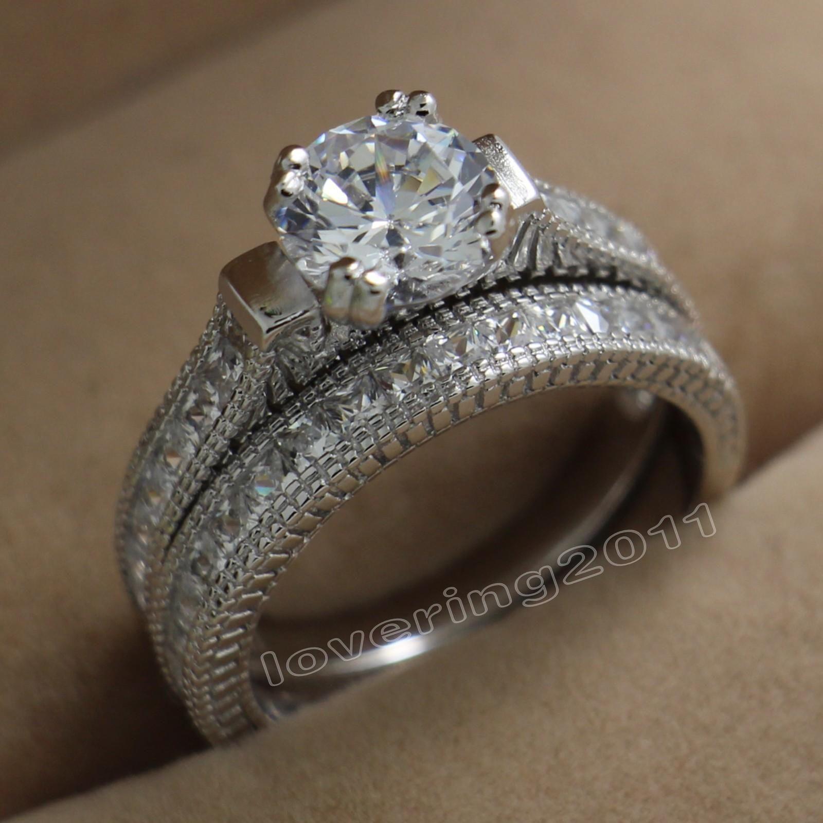 Key4fashion Free Size 5-10 Fashion jewelry round Cut Topaz 14KT White Gold Filled GF Simulated Diamond CZ Women Wedding Bridal Ring Set gift