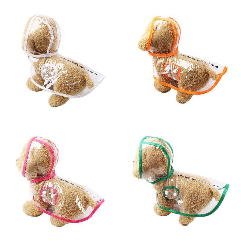 Pet Yağmur Coat Su geçirmez PVC Şeffaf Windproof Yağmurlu Giyim Köpek Köpek Ceket Hoodie Teddy Giyim Yağmurluk Yaz Evcil Coa