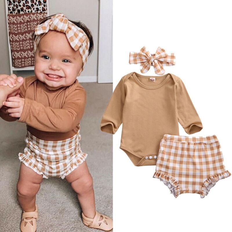 2020 bébé fille Vêtements pour tout-petit nouveau-né Automne manches longues Tops Body Shorts Plaid Bandeau HABILLEMENT 0-24M 3PCS