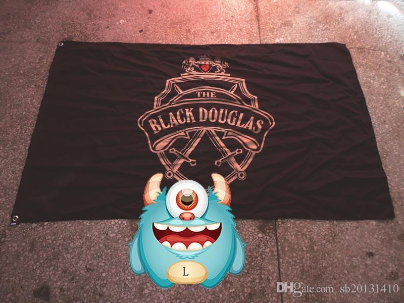 Noir douglas LOGO drapeau de la marque, décoration Bar, bannière promotion du vin 100% polyester 90 * 150cm, Impression numérique
