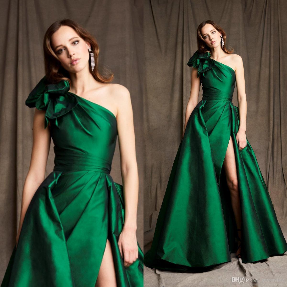 2020 Зеленые вечерние платья Одно плечо Zuhair Murad a Линия Платье выпускного вечера Саудовская Аравия Аравия