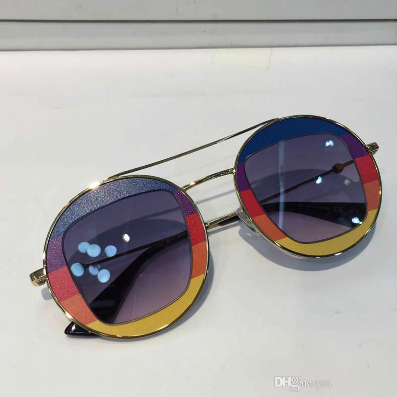G0105 Lunettes de soleil de luxe Femmes Marque Designer Couleur Rond Style Été Mode Mixte Cadre Supérieur Objectif Protection UV Qualité Venez avec le cas
