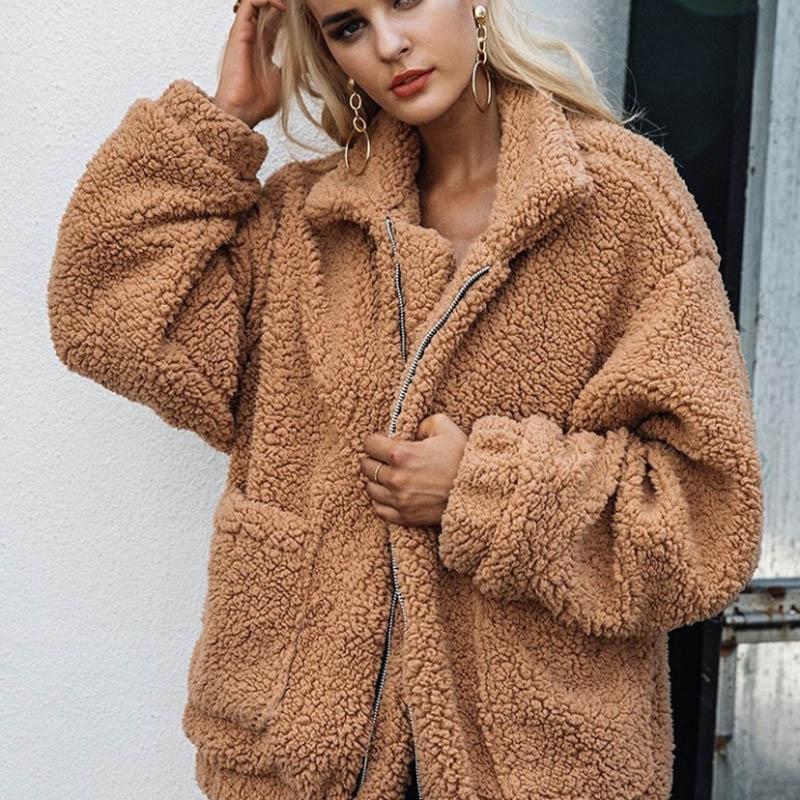 MOSHU فو امبسوول سترات معطف المتضخم 2018 سترات خريف وشتاء دافئ لينة زيبر الفراء القطيفة مشعر المعطف ملابس خارجية عارضة
