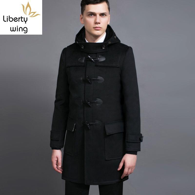 Botón de muy buen gusto de moda para hombre de mediana garra largo abrigo de lana con capucha mezclas de polvo abrigos ajuste delgado ocasional masculino de lana Trench Abrigo 6XL