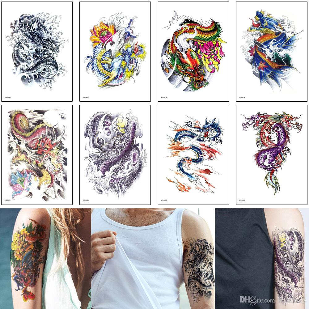 Temporary Tattoo Sticker Fake Chinese Dragon Wave Design for Woman Man Sleeve Arm Chest Body Art Makeup Waterproof Tattoo Travel Photo Gifts