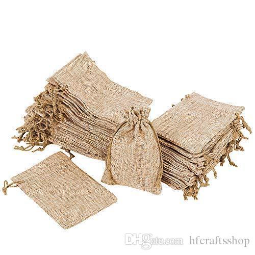 50 adet 10x14 cm İpli ile Doğal Çuval Bezi Çanta Jüt Kese Çuval Hediye Çanta Düğün Favor için takı Ambalaj Kahve Çantaları Var