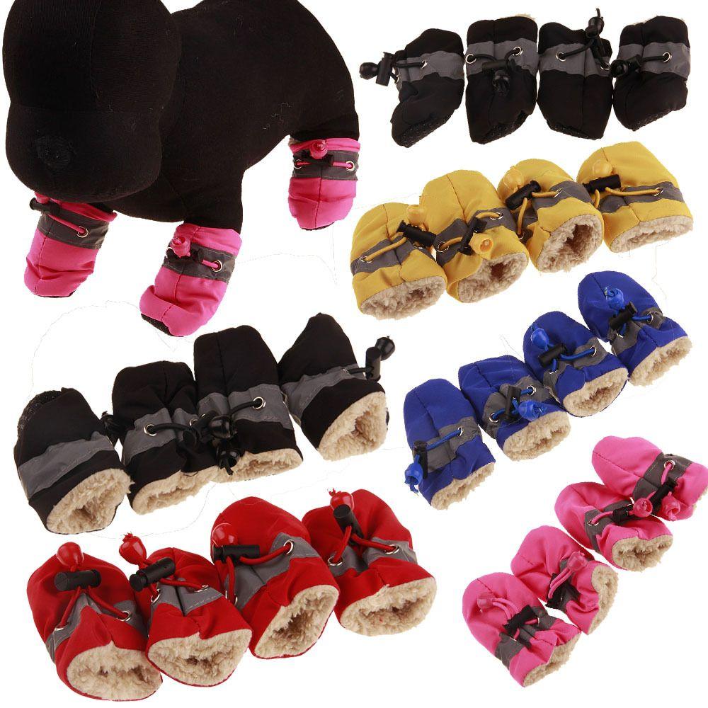4pcs wasserdichter Winter-Hund Schuhe Anti-Rutsch-Regen-Schnee-Aufladungen Thick Warm für kleine Katzen Hunde-Welpen-Hundesocken Booties Schuhe