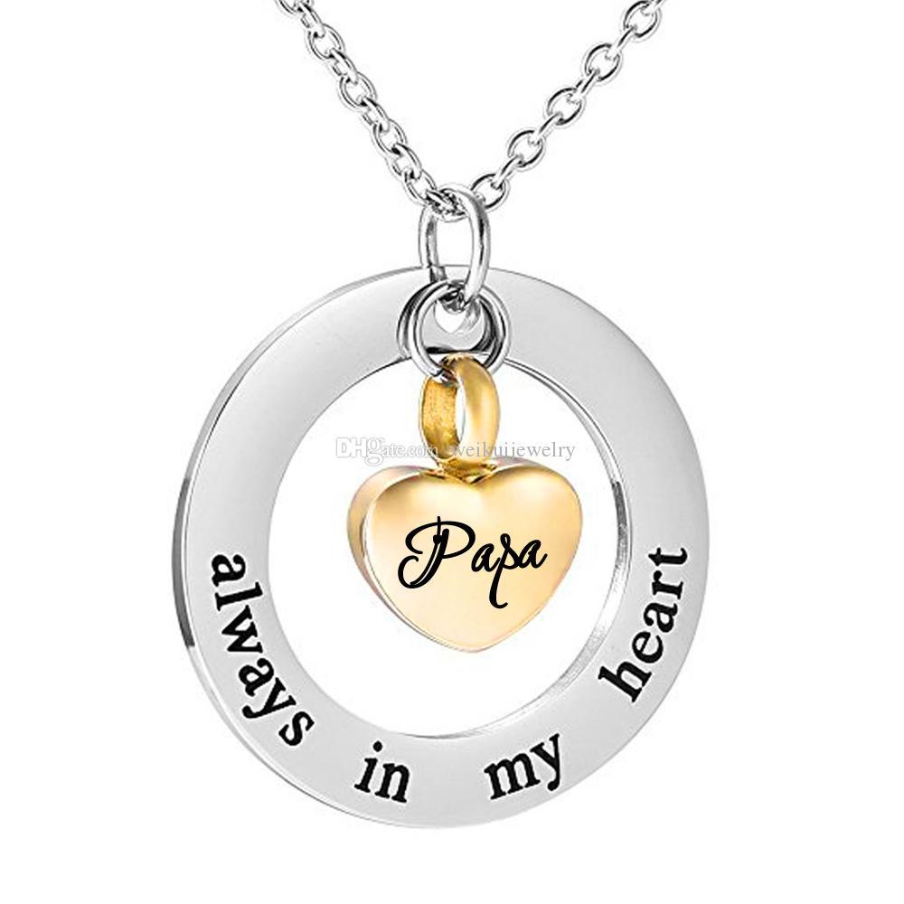 Crémation bijoux urne Collier Pour cendres toujours dans mon coeur Memorial Coeur Pendentif beau souvenir-or