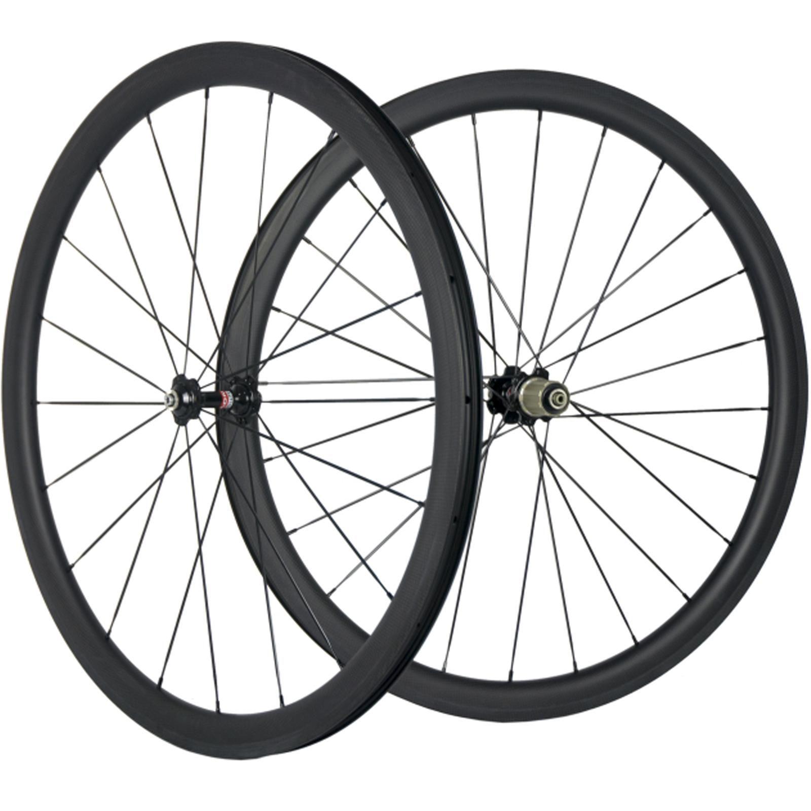 700C del carbonio 38mm Clincher Wheelset della bicicletta della strada 3K Matte Carbon Wheels nero 271 Hub Volanti larghezza di 25mm