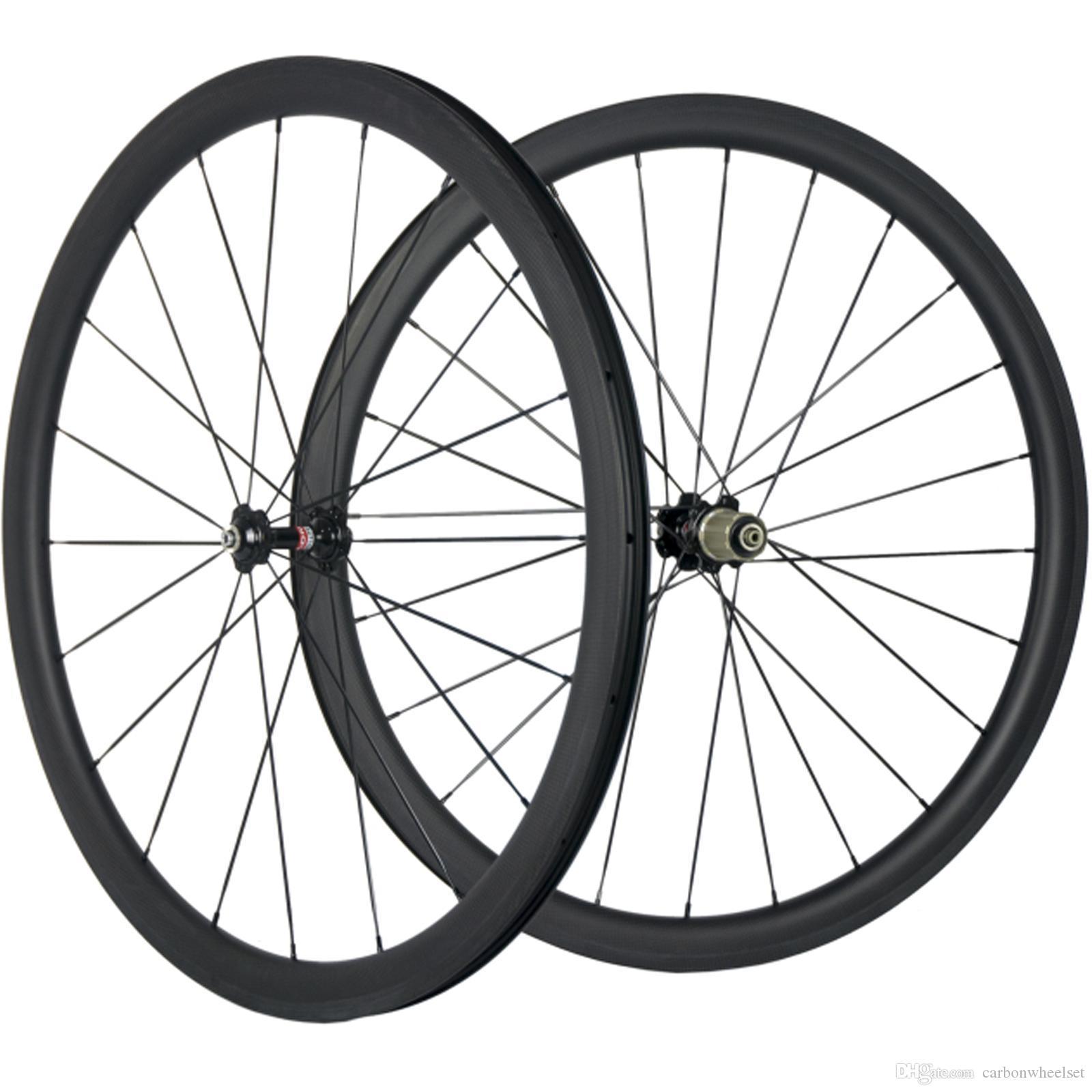 700C 38mm Klammer-Carbon Laufrad Straßen-Fahrrad 3K Matt Carbon-Räder Schwarz 271 Hub Racing Wheels 25mm Breite