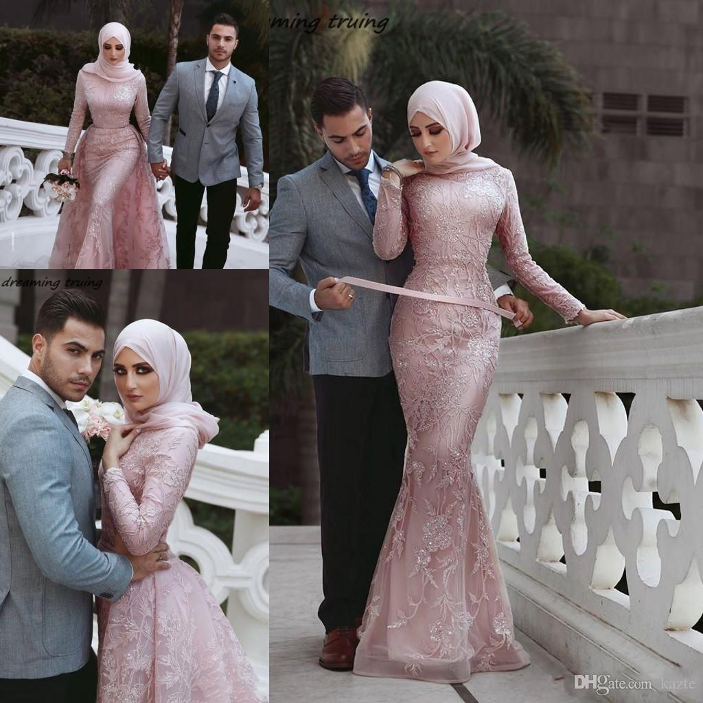Muslim Style Mermaid vintage Pink Wedding Dresses With Hijab Saudi Arabic Detachable Train Long Sleeve High Neck Bridal Gown Brautkleid